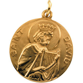 St. David Yellow Gold Medal . In Stock in both Gold and Sterling Silver