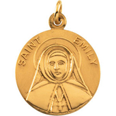 St. Emily Yellow Gold Medal . In Stock in both Gold and Sterling Silver