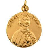 St. Emma Yellow Gold Medal . In Stock in both Gold and Sterling Silver