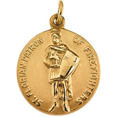 St. Florian Yellow Gold Medal . In Stock in both Gold and Sterling Silver