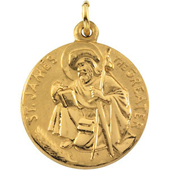 St. James Yellow Gold Medal . In Stock in both Gold and Sterling Silver