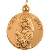 St. Jane Yellow Gold Medal . In Stock in both Gold and Sterling Silver