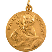 St. Jason Yellow Gold Medal . In Stock in both Gold and Sterling Silver