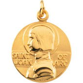 St. Joan of Arc Yellow Gold Medal . In Stock in both Gold and Sterling Silver
