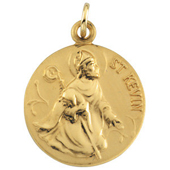 St. Kevin Yellow Gold Medal . In Stock in both Gold and Sterling Silver