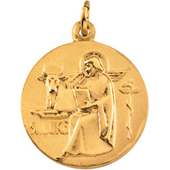 St. Luke Yellow Gold Medal . In Stock in both Gold and Sterling Silver