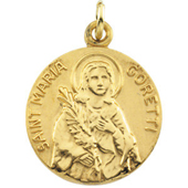 St. Maria Goretti Yellow Gold Medal . In Stock in both Gold and Sterling Silver