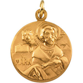 St. Mark Yellow Gold Medal . In Stock in both Gold and Sterling Silver