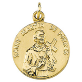 St. Martin de Porres Yellow Gold Medal . In Stock in both Gold and Sterling Silver