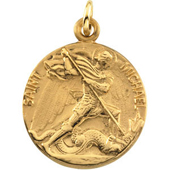 St. Michael Yellow Gold Medal . In Stock in both Gold and Sterling Silver