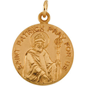 St. Patrick Yellow Gold Medal . In Stock in both Gold and Sterling Silver