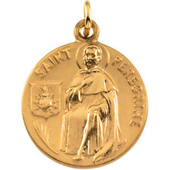 St. Peregrine Yellow Gold Medal . In Stock in both Gold and Sterling Silver