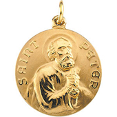 St. Peter Yellow Gold Medal . In Stock in both Gold and Sterling Silver
