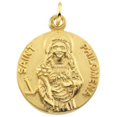 St. Philomena Yellow Gold Medal . In Stock in both Gold and Sterling Silver