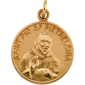 St. Pio Yellow Gold Medal . In Stock in both Gold and Sterling Silver