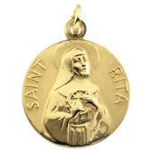 St. Rita Yellow Gold Medal . In Stock in both Gold and Sterling Silver