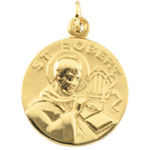 St. Robert Yellow Gold Medal . In Stock in both Gold and Sterling Silver