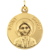 St. Sarah Yellow Gold Medal . In Stock in both Gold and Sterling Silver