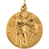 St. Sebastian Yellow Gold Medal . In Stock in both Gold and Sterling Silver