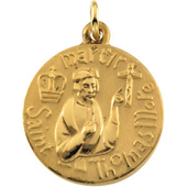 St. Thomas More Yellow Gold Medal . In Stock in both Gold and Sterling Silver