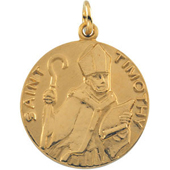 St. Timothy Yellow Gold Medal . In Stock in both Gold and Sterling Silver