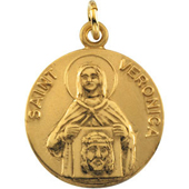 St. Veronica Yellow Gold Medal . In Stock in both Gold and Sterling Silver