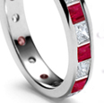 ruby diamond princess diamond eternity wedding rings