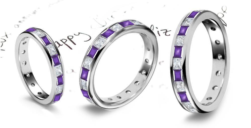 Purple Sapphire Diamond Eternity Rings