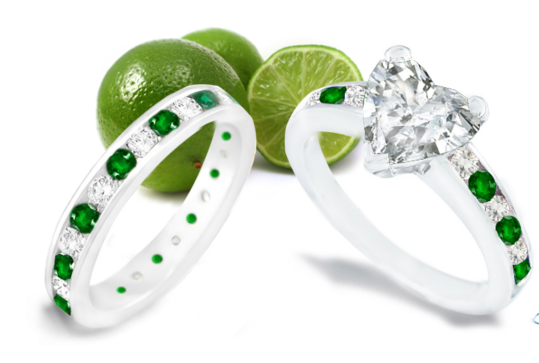 Emerald Heart Diamond Engagement Rings Wedding Rings