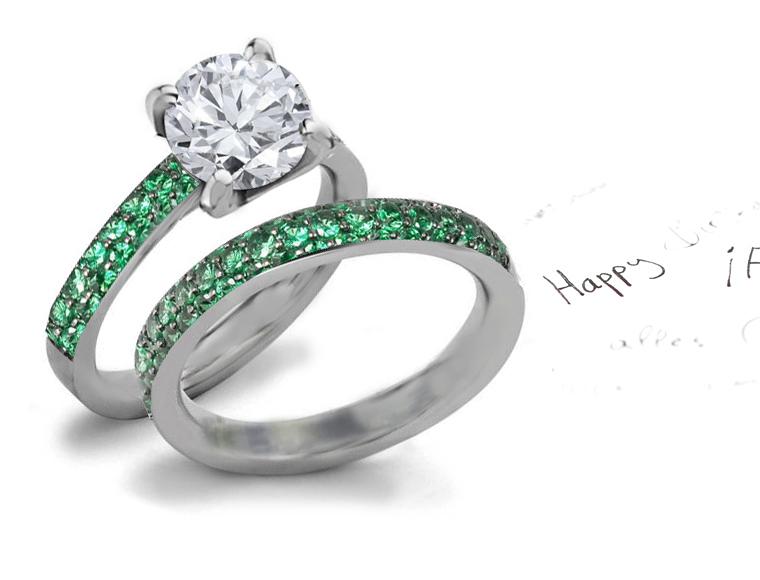 Emerald Green Wedding Ring Set
