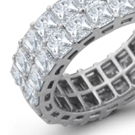 Alternating grouped square-cut diamonds, rubies and sapphires, in straight-edged platinum settings