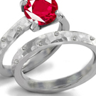 Baken Diamond Ring with Genuine Rubies