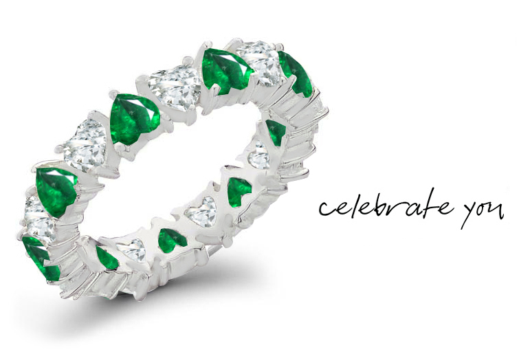 Emerald Rings Heart Emerald Diamond Eternity Rings Emerald