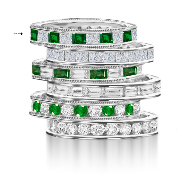 carat emerald wedding diamond u platinum eternity and bands eb band f shape setting cut