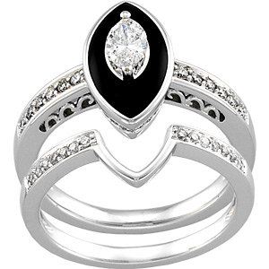 Genuine Onyx U0026 Diamond Engagement Ring U0026 Matching Band In 14K White Gold