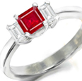 14k White Gold Ruby Diamond Engagement Ring