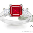 14-K White Gold Ruby Diamond Anniversary Ring