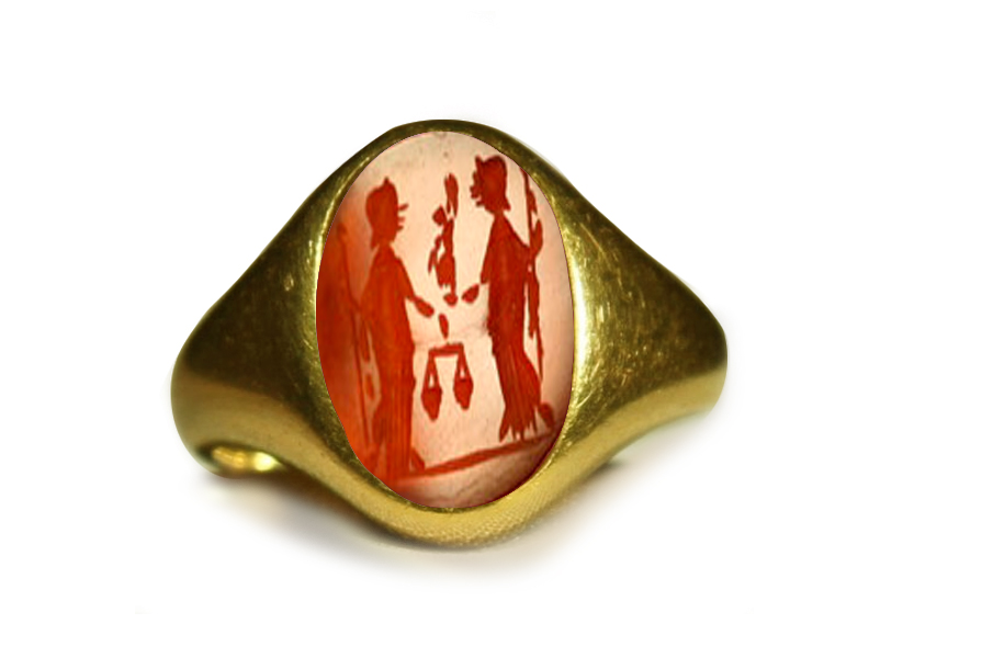 roman red cornelian intaglio gold roman ring depicting two goddesses set in signet ring gold mount