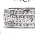Three Row Diamond Eternity Anniversary Rings