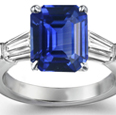 Emerald-Cut Blue Sapphire Crossover Ring with Diamonds in 18k White Gold (6x4 mm)