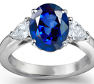 Solitaire Oval Blue Sapphire Sleek Curved Shank Ring in 14k White Gold (7x5 mm)