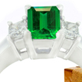 14-K White Gold Emerald And Diamond Ring
