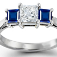 Princess Blue Sapphire Curved Shank Three Stone Ring with Diamonds in 14k White Gold (7X5 mm)
