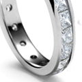 Platinum straight-edge settings or fancy scrolls of all diamonds, length 3/4 to 2 inches
