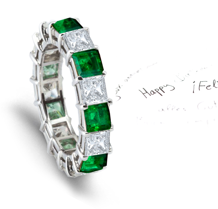 Emerald Diamond Princess Cut Eternity Rings