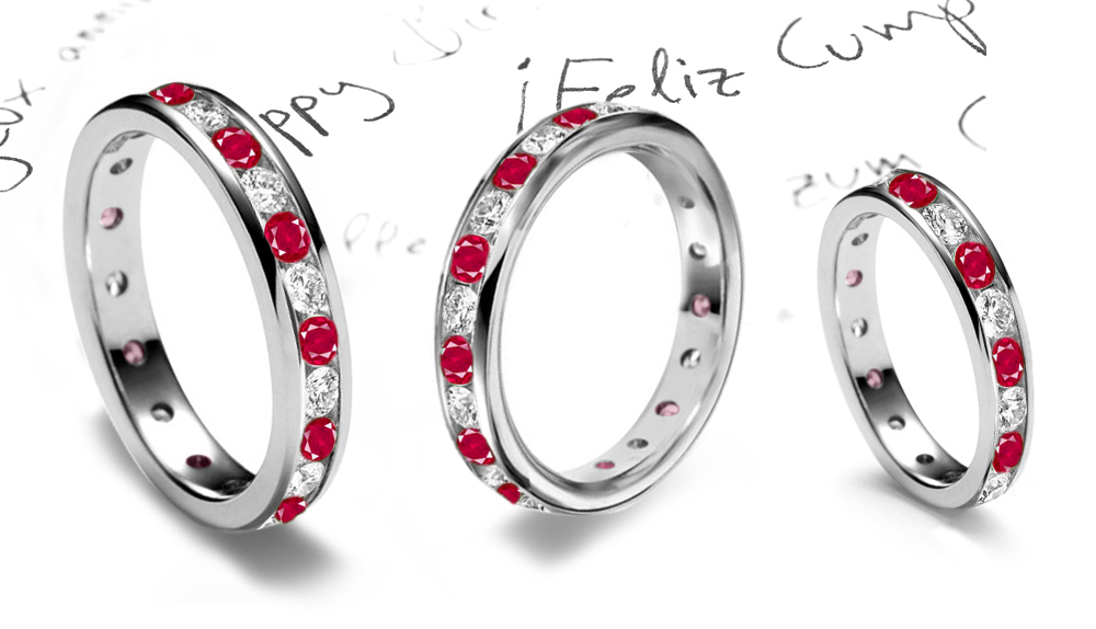 wedding silver round sapphire and white anniversary sterling bands ruby cut