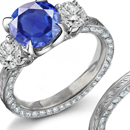 .60 ctw Blue Sapphire .10 ctw Diamond Ring 10K white gold Sz 7