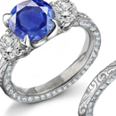 Natural 0.49ct Sapphire Diamond Anniversary Band Ring White Gold 10kt