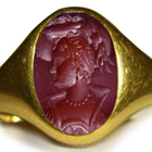 Ancient Signet Rings with Rich Blood Red Color Burma Ruby Gold Signet Ring a Roman Emporer