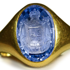 Ancient Rich Blue Color & Vibrant Burma Sapphire in Gold Signet Ring Head of a Royal Emblem